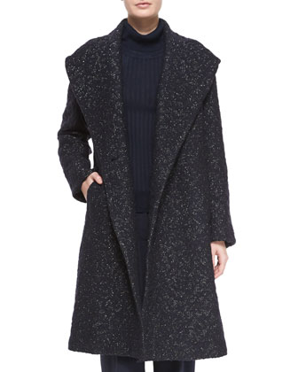 Metallic Boucle Topper Coat, Silk-Cashmere Ribbed Turtleneck & Relaxed ...