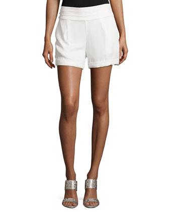 Cummerbund-Waist Shorts, Swan