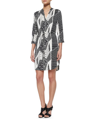 Mixed-Print Shirttail Dress, Black Multi