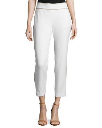 Cropped Two-Tone Tuxedo Pants, Swan/Gold