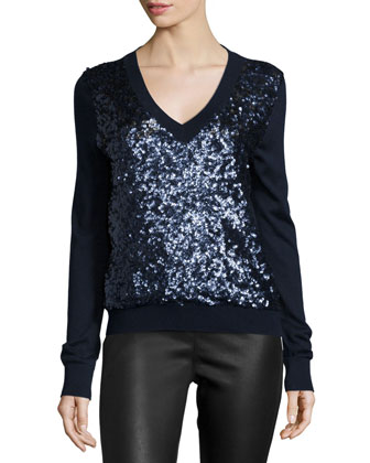 Long-Sleeve Sequined-Front Sweater