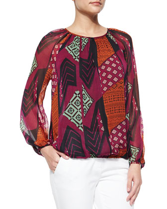 Hathaway Collage-Print Top, Multicolor