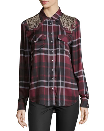 Basic Western Shirt w/Embellished Shoulders, Burgundy Multi