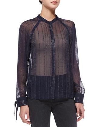 Fee Deluxe Patchwork Fur Vest, Chai Metal Sheer Top & Emma Bandes ...