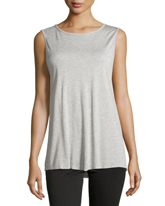 Muscle Tank w/Open Back, Light Heather Gray