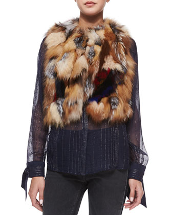 Fee Deluxe Patchwork Fur Vest, Multicolor