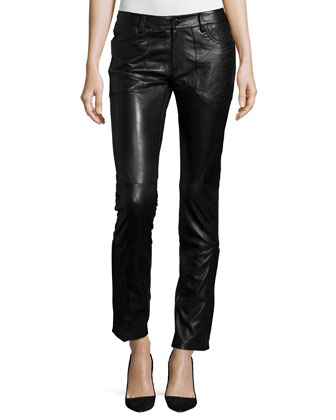 Tablier Deluxe Ruffle-Front Silk Top & Evrell Deluxe Leather Pants