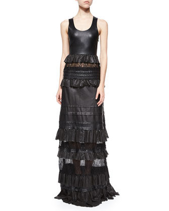 Harley Leather & Lace-Inset Maxi Dress