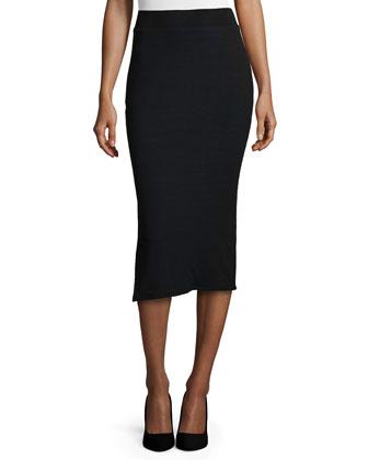 Fleece Two-Button Blazer & Long Knit Pencil Tube Skirt