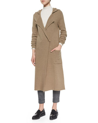Double-Breasted Long Felt Coat, Mock-Neck Slub Knit Top & Slim Stretch ...