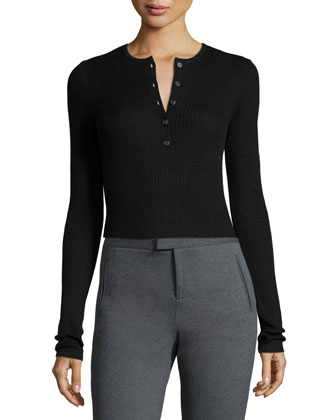 Long-Sleeve Engineered Henley Top