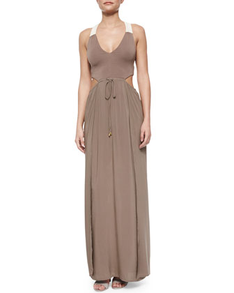 Wonderwall Cutout Tie-Waist Maxi Dress