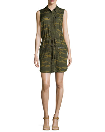 Sleeveless Zipper-Detail Shirtdress, Military Multi
