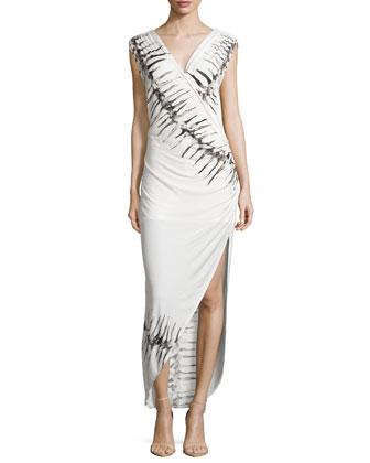 Faux-Wrap Dress with Asymmetric Side-Drape, Swan Multi