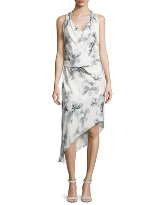 Sleeveless Asymmetric-Hem Dress, Swan Multi