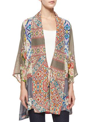 Half-Sleeve Mixed-Print Kimono Jacket & Nikky Floral-Print Silk Georgette Scarf