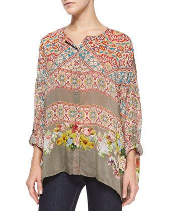 Blooming Printed Long-Sleeve Blouse & Exotic Flower-Print Silk Georgette ...
