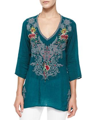 Mendi V-Neck 3/4-Sleeve Embroidered Tunic & Helen Printed Silk Georgette ...