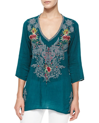 Mendi V-Neck 3/4-Sleeve Embroidered Tunic