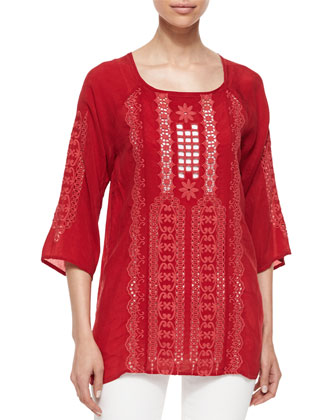 Liya 3/4-Sleeve Georgette Tunic, Women's