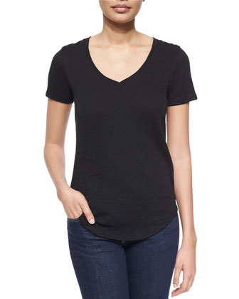 Short-Sleeve V-Neck Slub Jersey Tee, Black