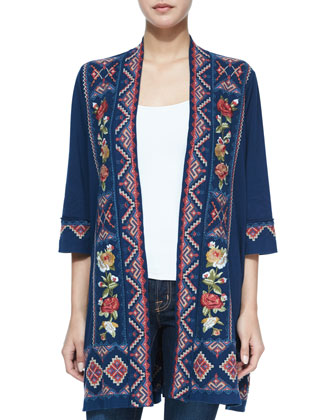 Carolina Embroidered Duster Cardigan, Women's