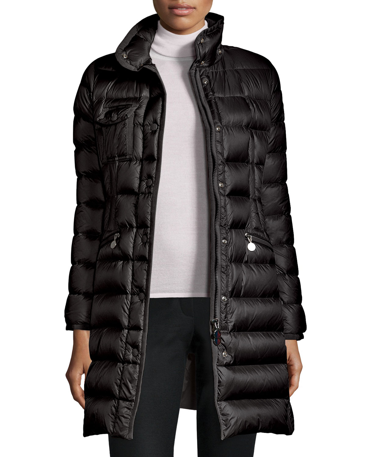 Hermine Hooded Long Puffer Coat, Size: 0 (XX-Small), BLACK - Moncler