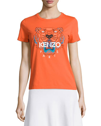 Icon Tiger-Print Short Sleeve T-Shirt, Pumpkin