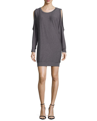 Long-Sleeve Round-Neck Dress, Gray