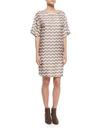 Singer Bemberg?? Cupro Coat & Chester Chevron-Print Silk Dress