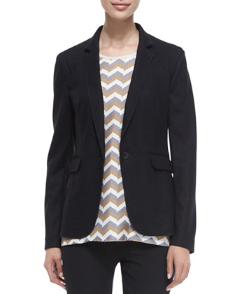 Long-Sleeve Wool Club Jacket, Aster Chevron-Print Silk Tank & Simone ...