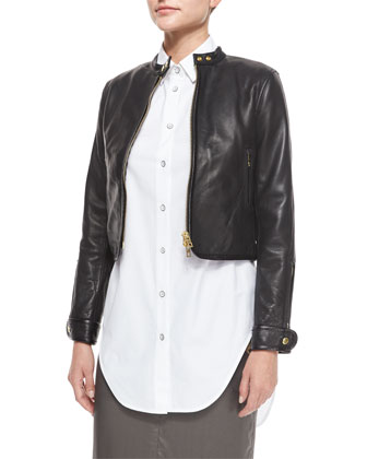 Carriage Leather Biker Jacket, Black