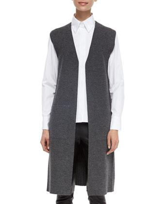 Alanna Long Knit Vest, Faye Long-Sleeve Poplin Shirt & Simone Leather Ankle ...