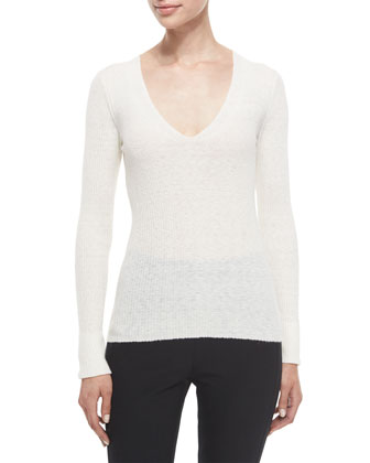 Libbey Ribbed V-Neck Sweater, Ivory