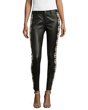 Skinny Embellished Leather Pants, Black