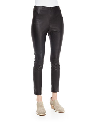 Carolyn Lace-Inset Knit Top & Simone Leather Ankle Pants