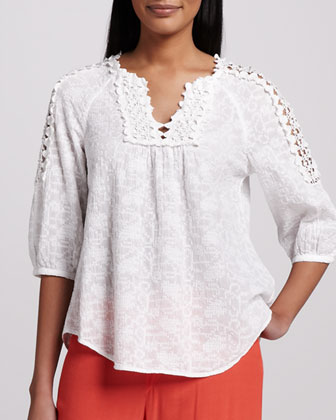 Capitola Embroidered Voile Tunic, Women's