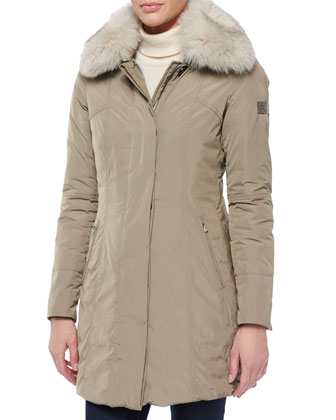 Metropolitan Fitted Fur-Collar Parka
