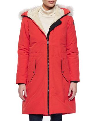 Dazed Fur-Piped Poplin Coat
