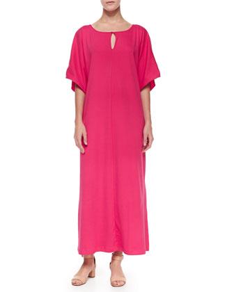 Keyhole-Front Long Dolman Dress, Petite