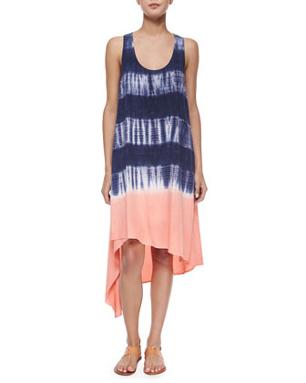 Asymmetric Tie-Dye Shift Dress, Navy/Sunrise