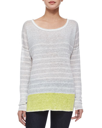 Long-Sleeve Striped Pullover Sweater, Gray/Lemoncello