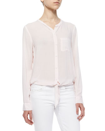 Long-Sleeve Tie-Front Button Blouse