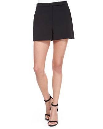 Structured Crepe Shorts, Black