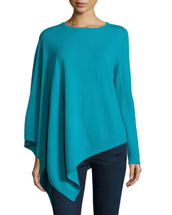 One-Sleeve Cashmere Asymmetric Poncho