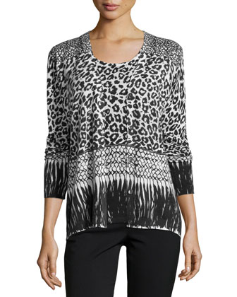 Mixed Animal-Print Cashmere Cardigan