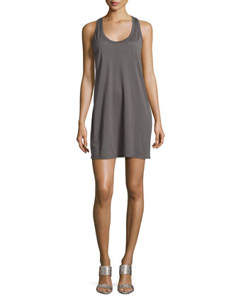 Sleeveless Low-Armhole Dress, Coal