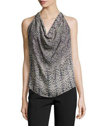 Sleeveless Blouse w/Open Back, Black Multi