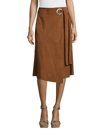 Suede Wrap Skirt, Brown