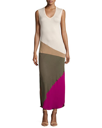 V-Neck Sleeveless Colorblock Gown, Buff/Suntan/Fatigue/Berry